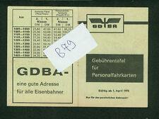 Altes Faltblatt Gebührentafel für Personalfahrkarten 1974 DB Bahn Bundesbahn Zug