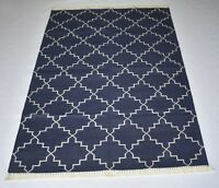 Blue Color Cotton Home & Office Decorative Dinning Room Modern 4x6 Feet Rug