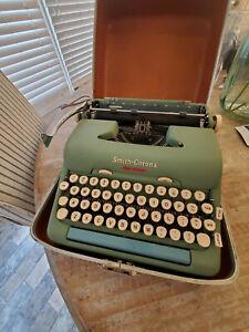 Vintage Smith-Corona Green Electric Typewriter w/ Brown Case & Booklet - 1950's