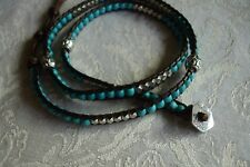 Katie Soleil Wrap Bracelet Turquoise Silver Beads Beaded Brown Cord NEW