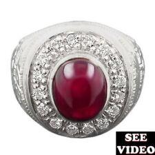 ❤ Natural RUBY & Natural Diamond 925 Sterling Silver Men's Ring