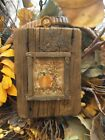 EARLY INSPIRED PRIMITIVE HAND STITCHED SAMPLER PUMPKIN CORN STALKS FALL LEAVES