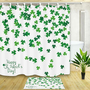 St. Patrick's Day Flying Shamrock Fabric Shower Curtain Bath Waterproof & Hooks