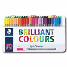 Staedtler Triplus Fineliner 0.3mm 50 Brilliant Colours Ink Pen Metal Tin 334 M50
