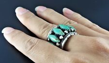 MEN'S SOUTHWESTERN NAVAJO TURQUOISE GEMSTONE STERLING SILVER 925 WIDE BAND RING