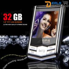 "32GB LCD TFT MP3 MP4 Player FM Radio Mini Earphone Slim Stereo Black 1.8"""