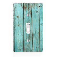 Light Switch Plate Cover Blue Bleach Wood Plank Wall Plate Patina Bathroom