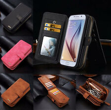 Removable Flip Leather Zipper Wallet Card Case Cover For Samsung Galaxy S7 Edge