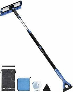27″-47″ Car Snow Brush with Squeegee Ice Scraper & Shovel 5-in-1 Extendable 270°