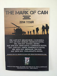THE MARK OF CAIN 2014 Australian Tour Poster A2 Songs Of The Third & Fifth *NEW*