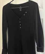 Women's  Black Long Sleeved Shirt - Size MED by Old Navy,100% Cotton- Pullover