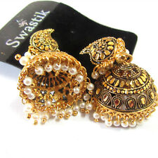 Rabbi Gold Tone / Plated Big Antique Earring Drops Jhumka
