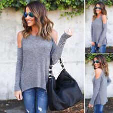 Womens Cotton Dew Shoulder Clothes Long Sleeve Casual Blouse Shirts Tops L LZF07