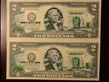 Two Dollar Connecticut State Overlay Bill's ( 2 ) Sequential Order Double Binary