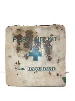 Vintage Blue Bird School Bus First Aid Kit & Contents white and green