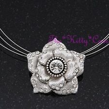 Rose Flower Floral Textured Silver Pendant Choker Necklace w/ Swarovski Crystals