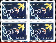 2047 BRAZIL 1986 AMNESTY INTL., 25th ANNIV., BIRDS, JUSTICE RHM C-1511 BLOCK MNH