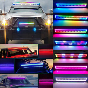 Sando 13-52inch CREE LED RGB Chasing Flow Halo Ring Light Bar Bluetooth Remote