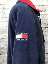 Tommy Hilfiger Outdoors Fleece Color Block Jacket Big Flag Spell Out Vtg 90's M