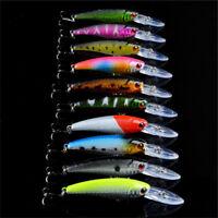 Lot 10pcs Minnow Fishing Lures Bass Crankbait Hooks Tackle Crank Baits 9cm/8.3g