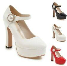 Women's Mary Janes  Round Toe Block High Heel Wedding Bridal Pumps Shoes 34/43 D