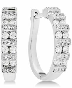0.50CT Round Cut White Natural Diamond Women's Hoop Earring In 14K White Gold
