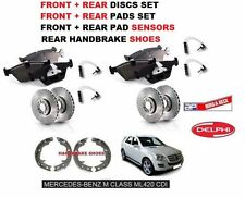 FOR MERCEDES ML420 CDi 2006> FRONT + REAR BRAKE DISC SET + PADS + SENSOR + SHOES