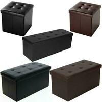 Faux Leather Storage Footstool Sofa Ottoman Bench Folding Footrest Box Seat US