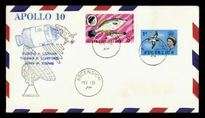 DR WHO 1969 ASCENSION SPACE TRACKING STA APOLLO 10 CACHET  g19656