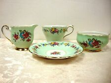 PARAGON TEA CUP AND SAUCER SET W/ WINDSOR CREAM AND SUGAR CLOSE MATCH BONE CHINA