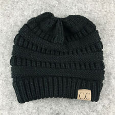 Winter Women's Girl Stretch Knit Hat Messy Bun Ponytail Beanie Holey Warm Hats