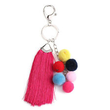 Car Keychain Key Ring Wool Tassel Handbag Ball PomPom Pendant Charm Cell Phone