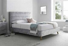 Crushed Silver Velvet Fabric 4ft6 Double Bed Frame Kaydian Black Friday
