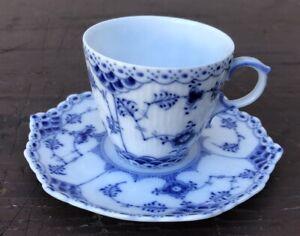 Vintage Royal Copenhagen Blue Fluted Full Lace Demitasse Cup/Saucer