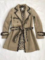 Abs by allen schwartz Women's Small Beige leopard Trench Coat fringe trim Sz P