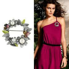 Elegant Grey natural Gemstone Pearl Flower Brooch Pin Ladies Gift Accessories UK