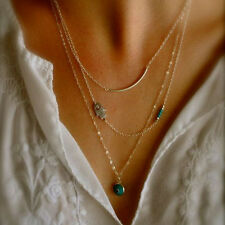 3 Layers Chain Hamsa Fatima Hand Evil Eye Pendant Turquoise Lady Chain Necklace