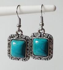 Ohrhänger Ohrringe Vintage Ethno Türkis Ornament eckig türkis antik silber