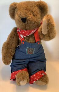 Vintage 1992 Vermont Teddy Bear Denim Overalls & Red Bandana Scarf W/ Cows