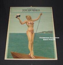 Pin Up Poster BIKINI SEXY BLOND SAILING 1940 ORIGINAL Beach Pinup VINTAGE