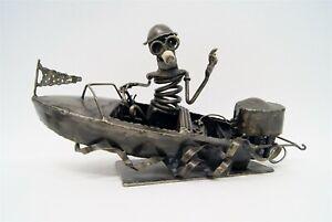 "Ken Moore 1972 ""Speedboat Ride"" Welded Folk Art Metal Sculpture Spark Plug C2107"