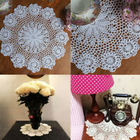 14.5'' Vintage Cotton Round Hand Crocheted Lace Doilies Flower Table Placemat