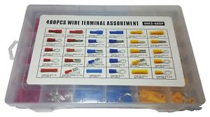 480 PC ASSORTED INSULATED ELECTRICAL WIRE TERMINAL CRIMP CONNECTOR SPADE SET KIT