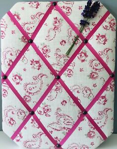 Evelina Paisley Pink Fabric French Memo Noticeboard