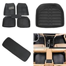 5Pcs Black PU Leather Universal Auto Car Floor Mats Carpet Front Rear Waterproof