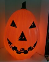 "Vintage Pumpkin Blow Mold Yard Decor Halloween 28"" Lighted Jack O Lantern Huge!"