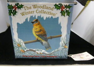Russ Berrie Yellow Finch Winter Woodland Collection Porcelain Clip On Ornament
