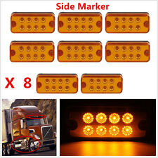 8 × Amber 8 LED Boat Truck Trailer Side Marker Light Lamp Turn Signals Light 12V