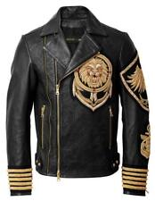 New Balmain H&M Embroidery Patches Golden Black Brando Style Lion Leather Jacket