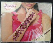 Pink Fuchsia Gold Glitter Wrist Arm Bindi Tattoo Sticker Body Art Rhinestone 2